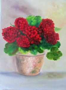 Geraniums in a Pot ,